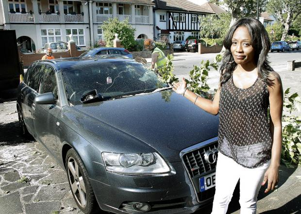 Diane Parish with her damaged Audi outside her Bush Hill Park home.